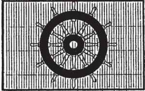 Darstellung des Steuerrad-Symbols vor gerastertem Hintergrund
