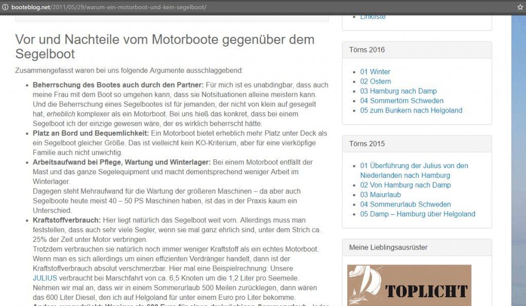 Abbildung einer Artikelseite zur Entscheidung für ein Motorboot