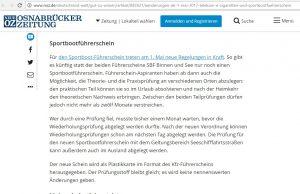 Bildschirmfoto der Internetseite www.noz.de vom 1. Mai 2017 mit einer Meldung zu angeblichen Rechtsänderungen bei Sportbootführerscheinen zum 1. Mai 2017.