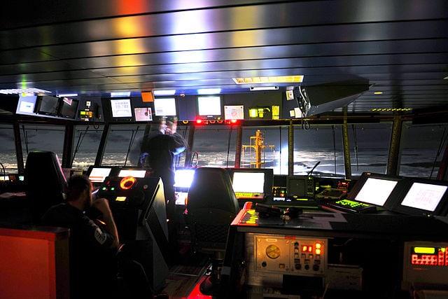 Die Brücke des britischen Marine-Schifsf HMS Protection