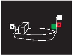 Positionslichter eines Motorbootes als Kleinfahrzeug, Variante 2