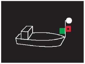 Positionslichter eines Motorbootes als Kleinfahrzeug, Variante 3