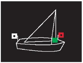 Positionslichter eines Segelbootes als Kleinfahrzeug, Variante 1