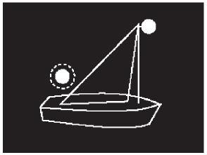 Positionslichter eines Segelbootes als Kleinfahrzeug, Variante 3, Taschenlampentrick