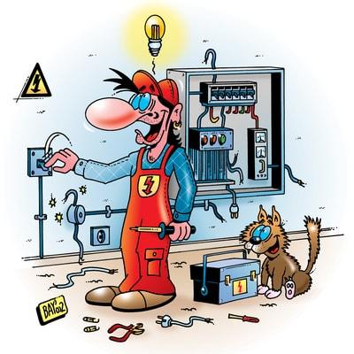 Ein Elektriker, eine Karikatur